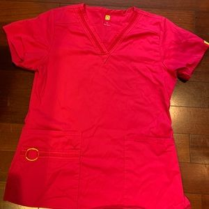 Wink hot pink scrub top